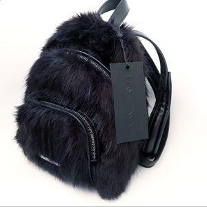 Kendall + Kylie | Black Faux Fur Mini Backpack